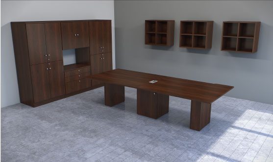 Rectangle Table with Square Base and Storage Finished in Mahogany Impression