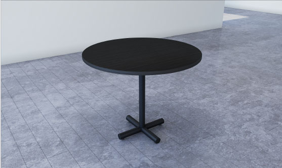 Round Table with Tubular Leg Finished in Black