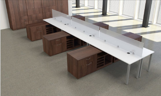 Post Leg Table with Low Credenza Finished in Brunito Cherry