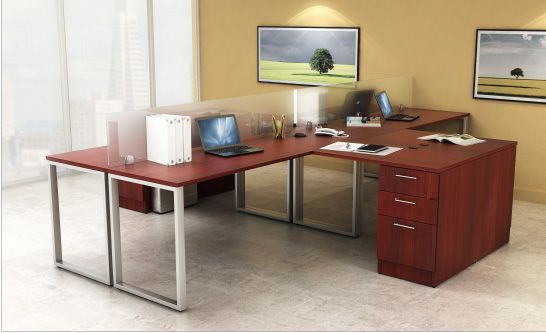 Shared O Leg Desks with Dividers Finished in Shiraz Cherry