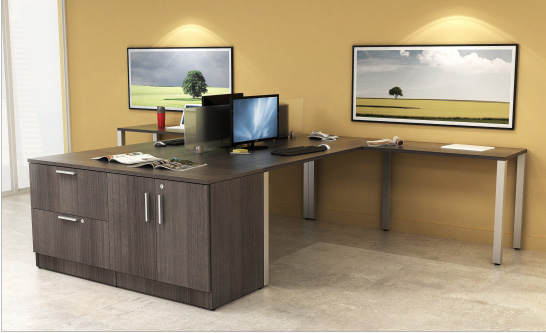 Post Leg Desks with Double Storage Station Finished in Graphite Wood