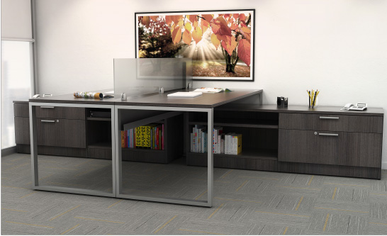 Double O Leg Desk with Credenza Finished in Graphite Wood